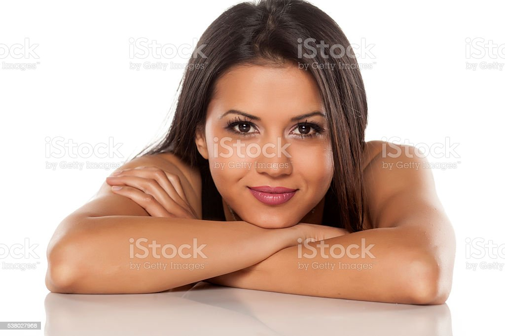 dark-skinned and smiling stock photo