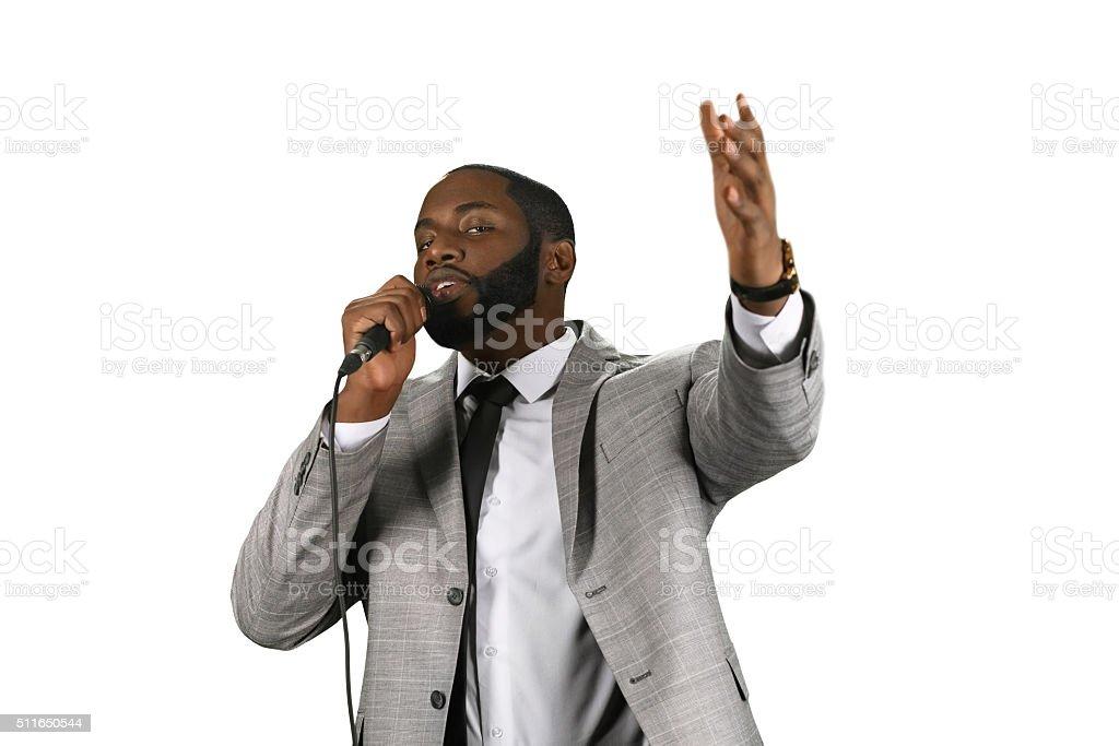Darkskinned preacher. stock photo