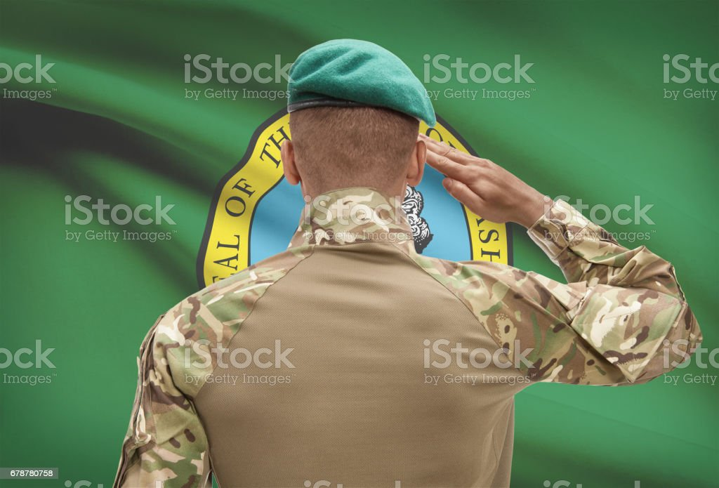 Dark-skinned soldier with US state flag on background - Washington royalty-free stock photo