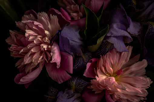 Dark-toned photo of lilies and peonies in vase.
