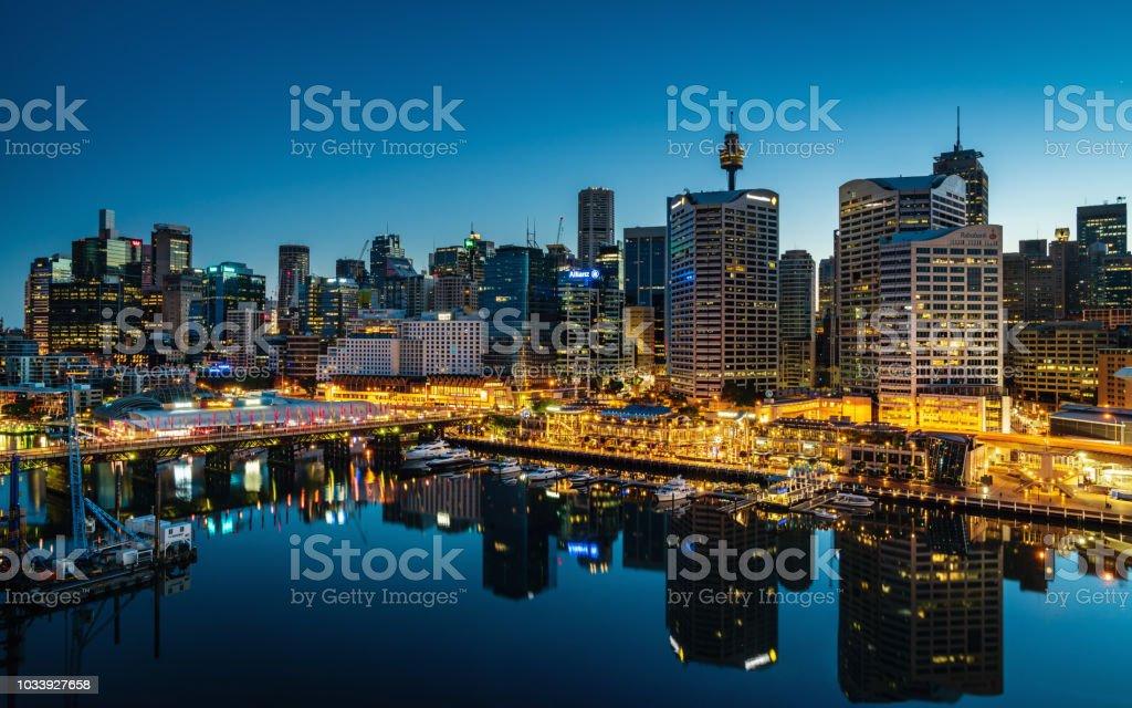 Darling Harbor Sydney Cityscape at Night Australia stock photo