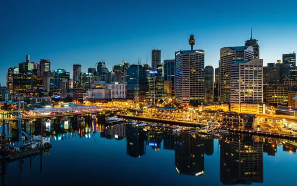 Darling Harbour Sydney Cityscape Night Australia – Foto