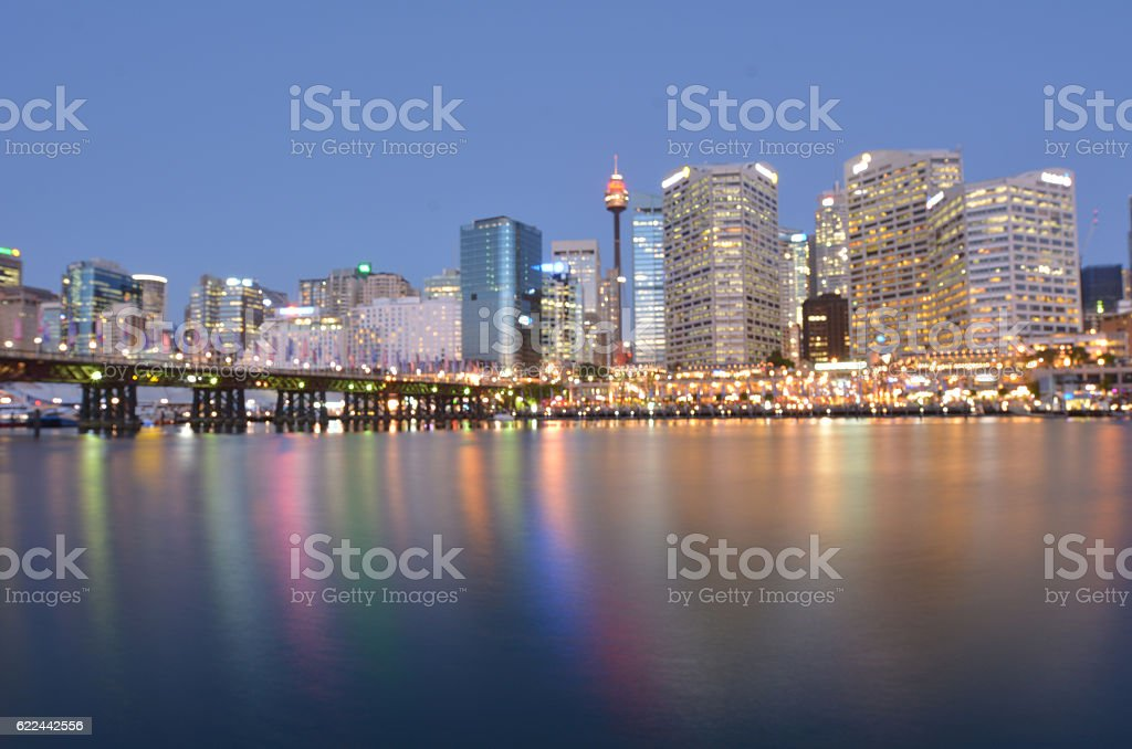 Darling Harbour at dusk Sydney New South Wales Australia stock photo