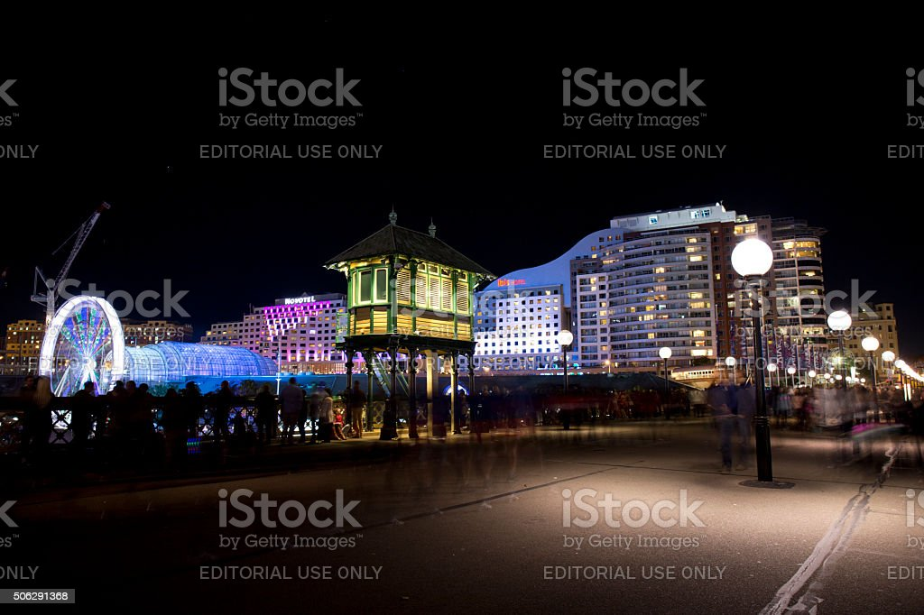 Darling Harbour at night, Sydney stock photo