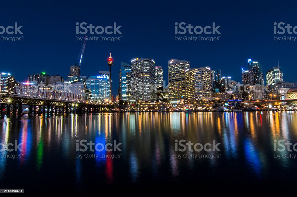 Darling Harbour by night stock photo