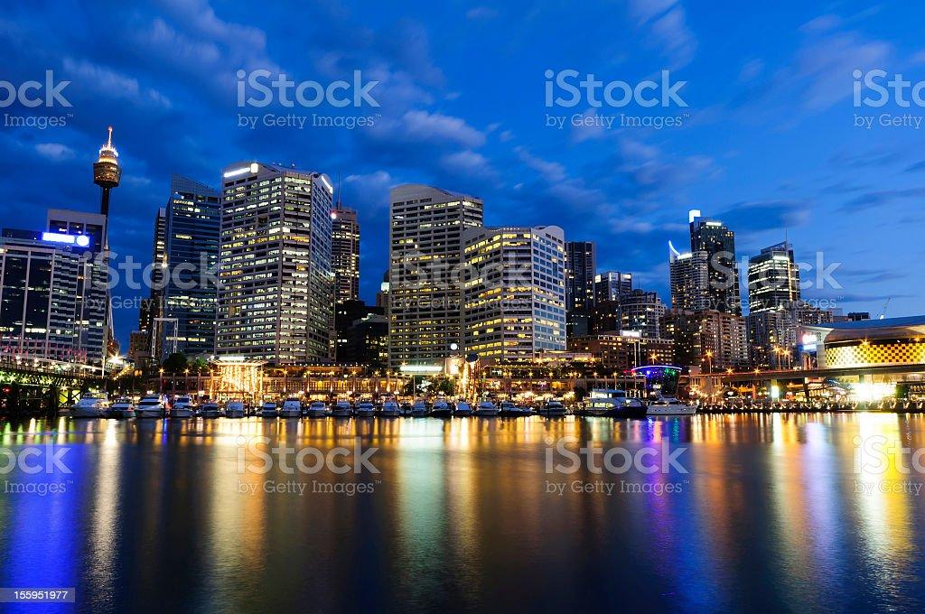 Darling Harbour Dusk, Sydney stock photo