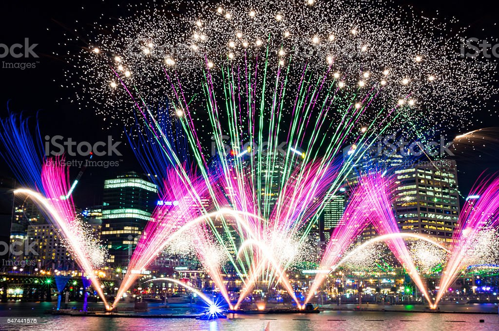 Darling Harbour fireworks during annual light festival Vivid Syd stock photo