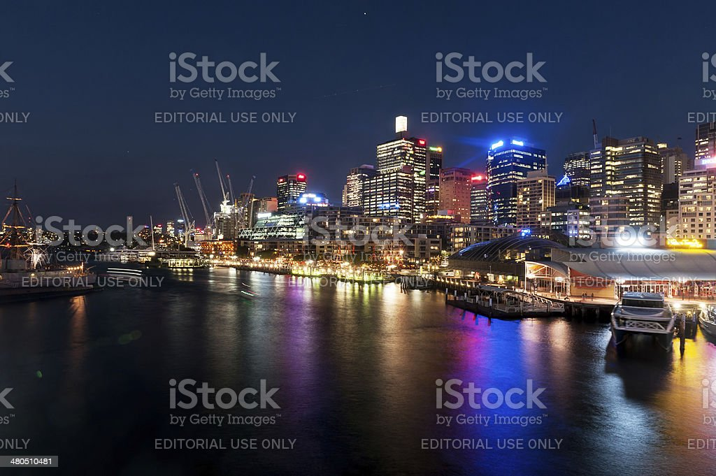 Darling Harbour night scene stock photo