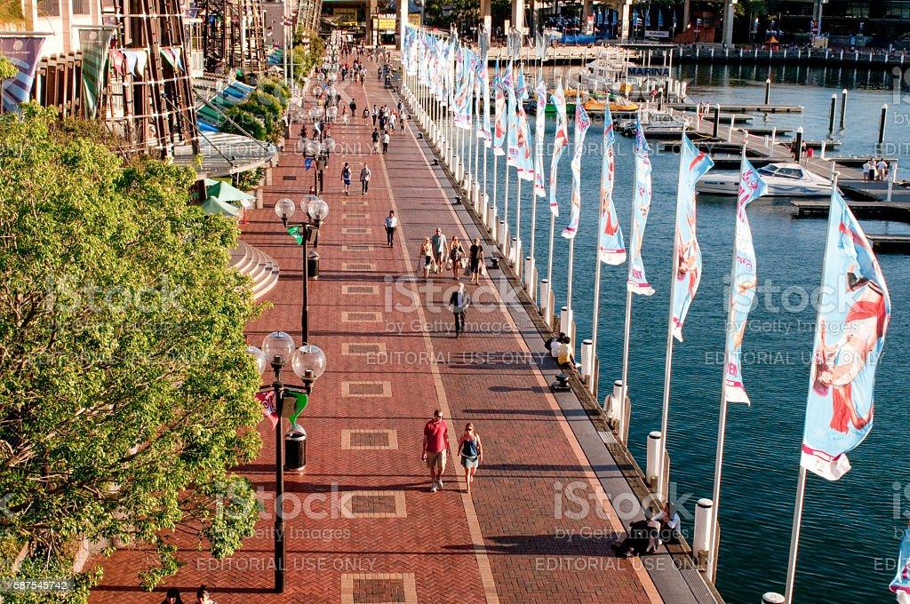 Darling Harbour promenade, Sydney, Australia stock photo