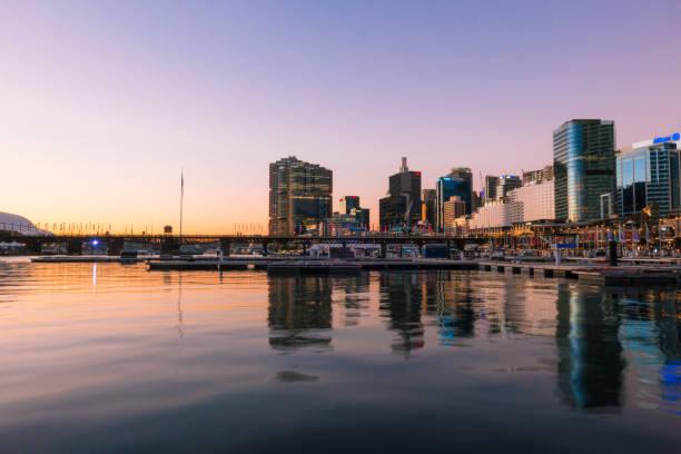 darling harbour sunset - barangaroo stock photos and pictures
