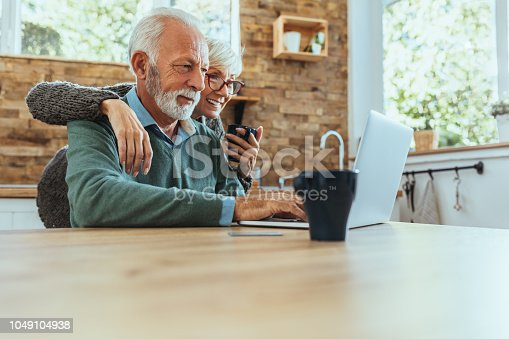 Mature couple using their laptop