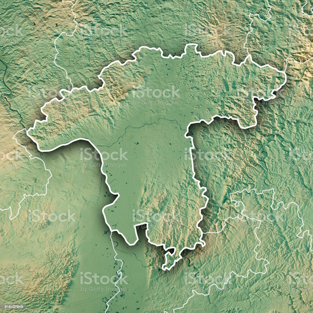 Darmstadt Regierungsbezirk Hessen 3d Render Topographic Map Border