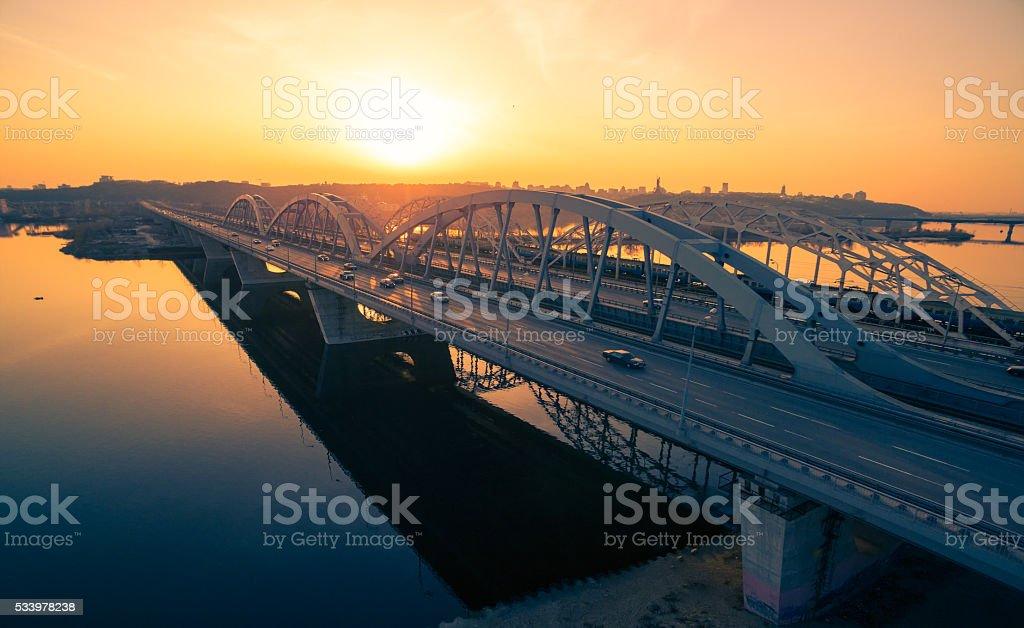 Darnitskiy bridge at sunset stock photo