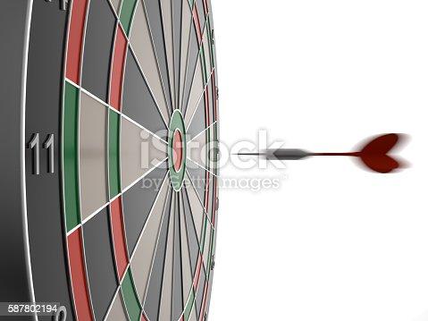 886643538 istock photo Dart arrow hitting in the target center of dartboard 587802194