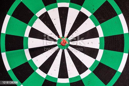 886643538 istock photo Dart arrow in bullseye target on dartboard 1018138356
