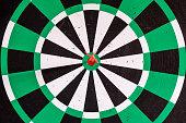 istock Dart arrow in bullseye target on dartboard 1018138356
