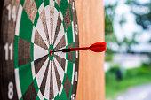 istock Dart arrow in bullseye target on dartboard 1018138402
