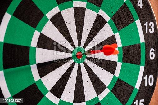 886643538 istock photo Dart arrow in bullseye target on dartboard 1021031302