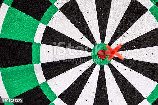 886643538 istock photo Dart arrow in bullseye target on dartboard 1021031320