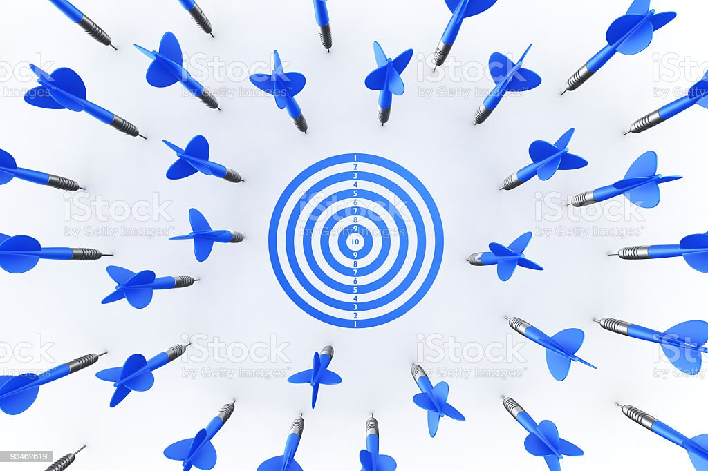 Dart arrows missing target stock photo