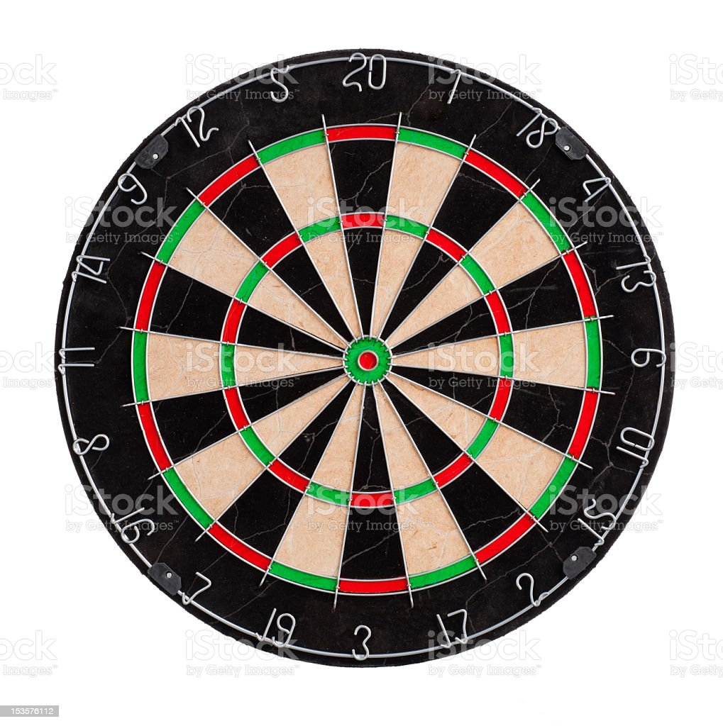 Dart board in the center of a white background stock photo