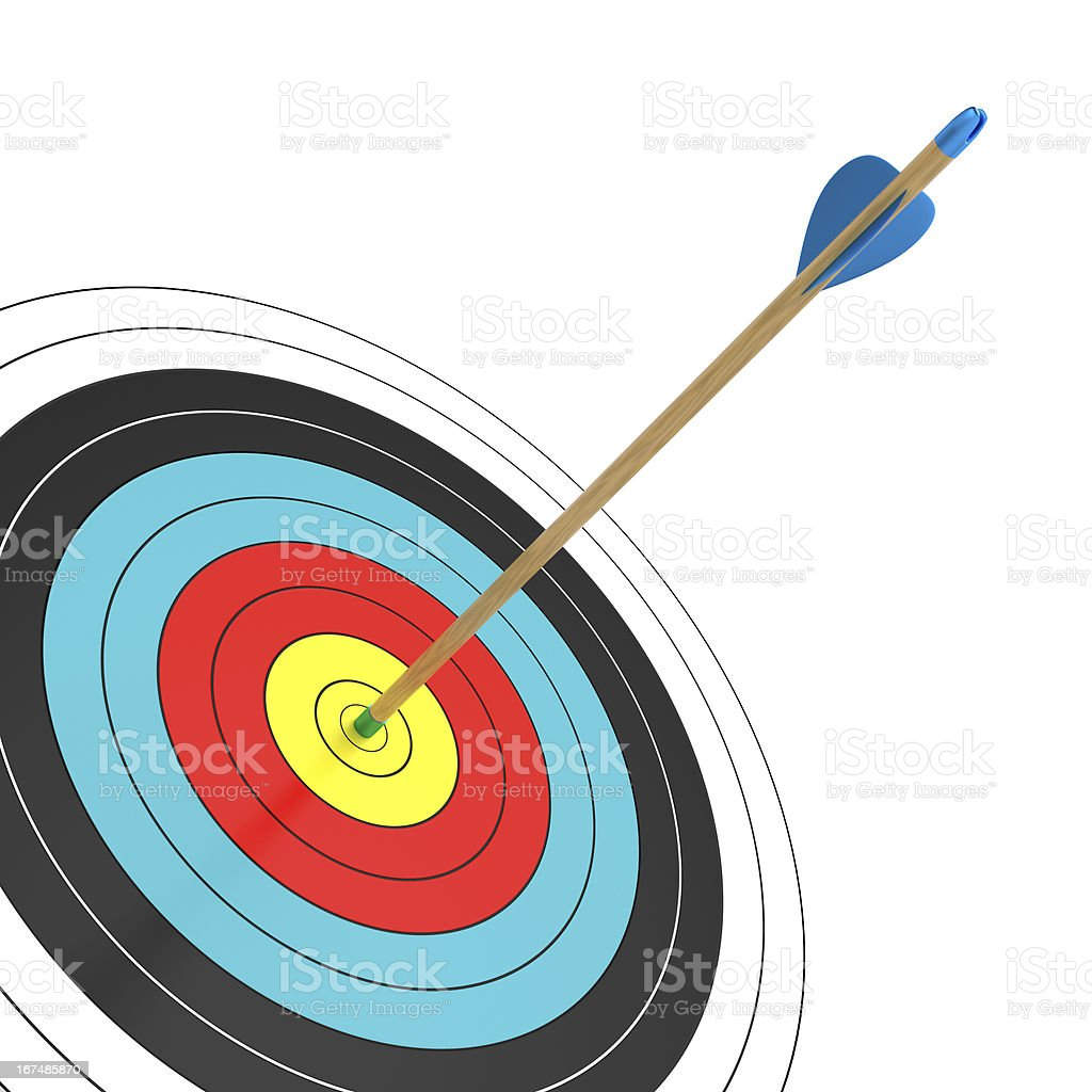 A dart board with a dart in the bullseye stock photo