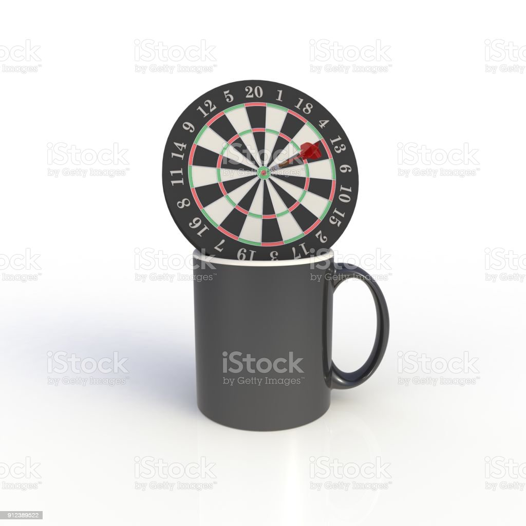 Dart board with black coffee cup isolated on white background. Mock up Template for application design. Exhibition equipment. Set template for the placement of the logo. 3D rendering. stock photo
