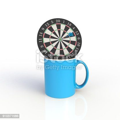 902096164 istock photo Dart board with blue coffee cup isolated on white background. Mock up Template for application design. Exhibition equipment. Set template for the placement of the logo. 3D rendering. 910371586