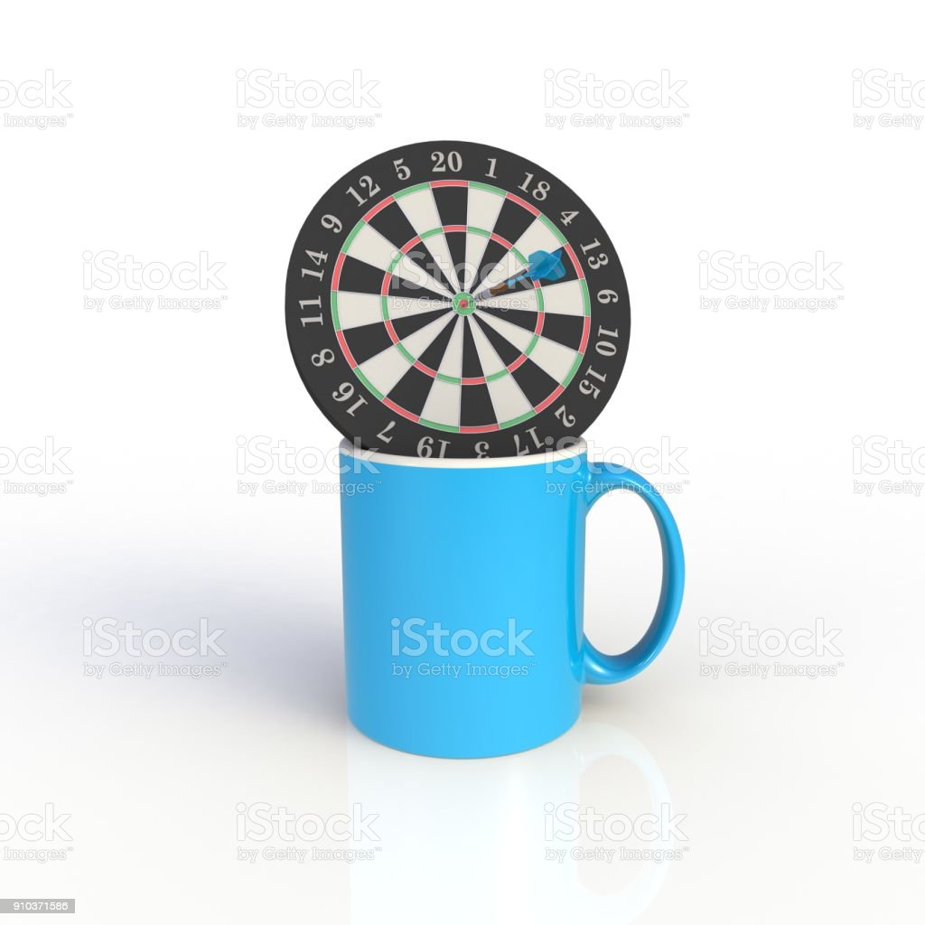 Dart board with blue coffee cup isolated on white background. Mock up Template for application design. Exhibition equipment. Set template for the placement of the logo. 3D rendering. stock photo