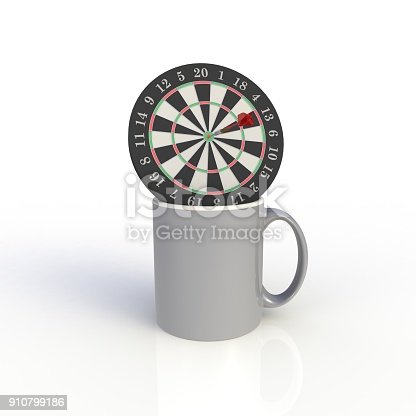 902096164 istock photo Dart board with gray coffee cup isolated on white background. Mock up Template for application design. Exhibition equipment. Set template for the placement of the logo. 3D rendering. 910799186