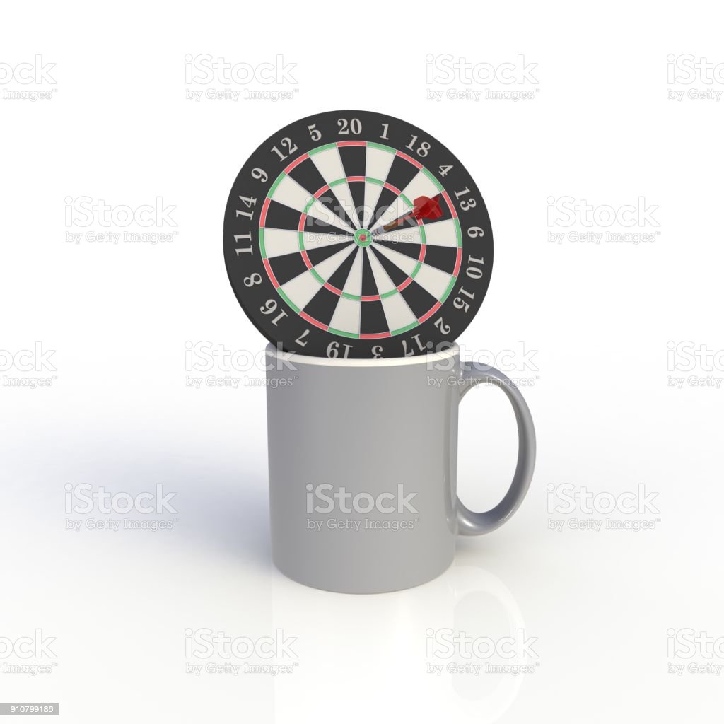 Dart board with gray coffee cup isolated on white background. Mock up Template for application design. Exhibition equipment. Set template for the placement of the logo. 3D rendering. stock photo