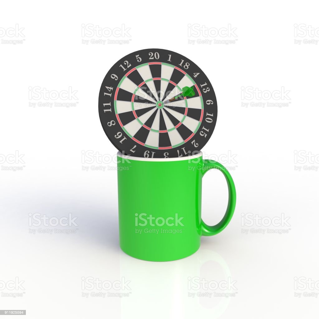 Dart board with green coffee cup isolated on white background. Mock up Template for application design. Exhibition equipment. Set template for the placement of the logo. 3D rendering. stock photo