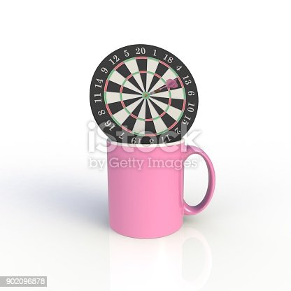 904387004 istock photo Dart board with pink coffee cup isolated on white background. Mock up Template for application design. Exhibition equipment. Set template for the placement of the logo. 3D rendering. 902096878