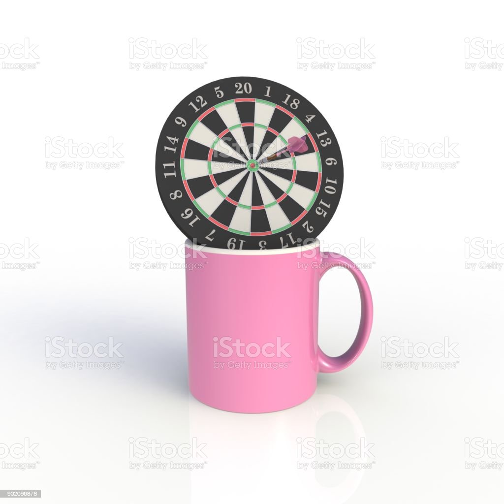 Dart board with pink coffee cup isolated on white background. Mock up Template for application design. Exhibition equipment. Set template for the placement of the logo. 3D rendering. stock photo