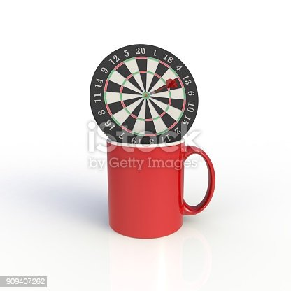 904387004 istock photo Dart board with red coffee cup isolated on white background. Mock up Template for application design. Exhibition equipment. Set template for the placement of the logo. 3D rendering. 909407262