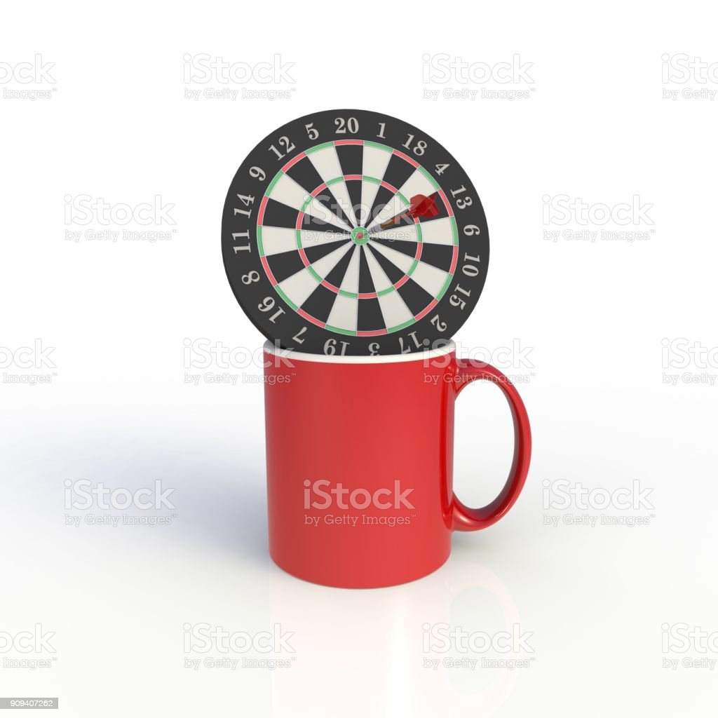 Dart board with red coffee cup isolated on white background. Mock up Template for application design. Exhibition equipment. Set template for the placement of the logo. 3D rendering. stock photo