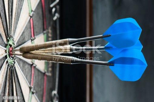 Three darts at the centre of a dartboard