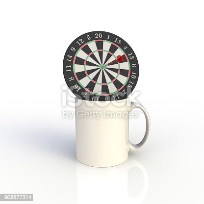 904387004 istock photo Dart board with white coffee cup isolated on white background. Mock up Template for application design. Exhibition equipment. Set template for the placement of the logo. 3D rendering. 908872314