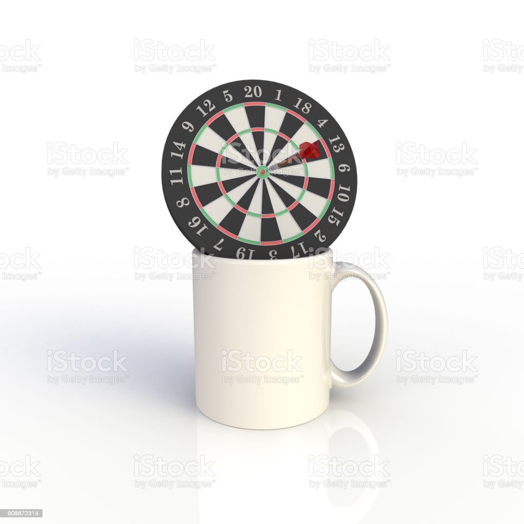 Dart board with white coffee cup isolated on white background. Mock up Template for application design. Exhibition equipment. Set template for the placement of the logo. 3D rendering. stock photo
