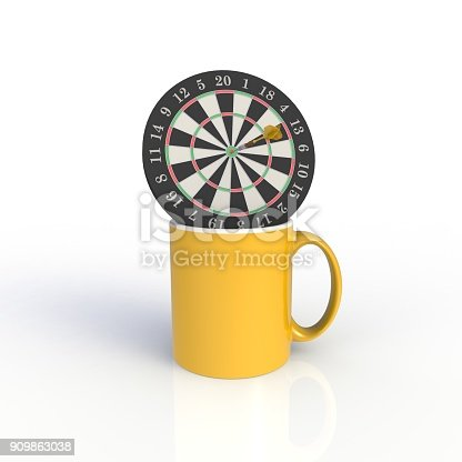 902096164 istock photo Dart board with yellow coffee cup isolated on white background. Mock up Template for application design. Exhibition equipment. Set template for the placement of the logo. 3D rendering. 909863038