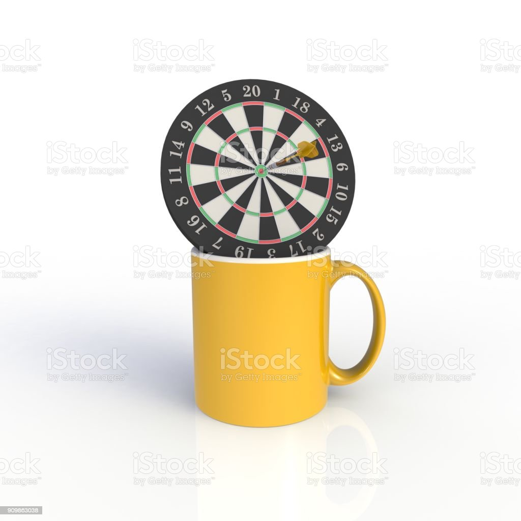 Dart board with yellow coffee cup isolated on white background. Mock up Template for application design. Exhibition equipment. Set template for the placement of the logo. 3D rendering. stock photo