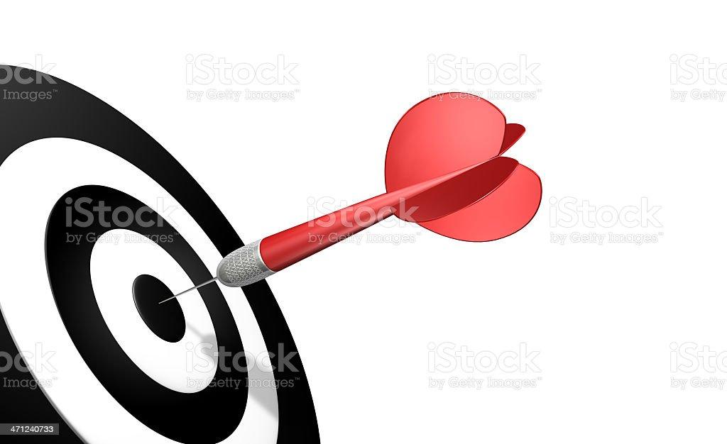 Dart bullseye on black and white target royalty-free stock photo