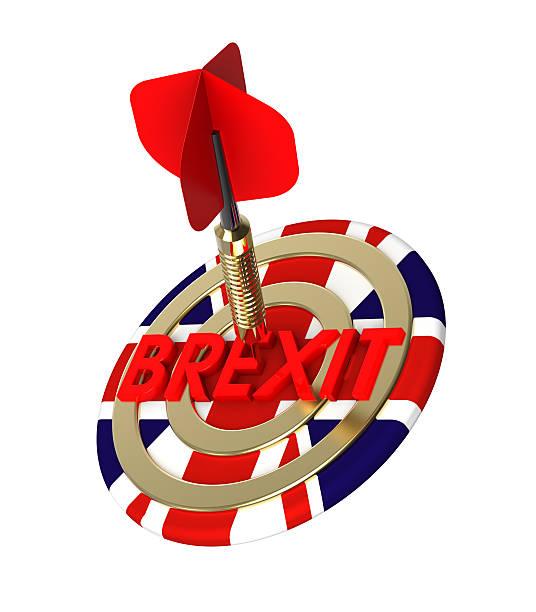 dart hitting target. brexit concept. - abschiedswünsche stock-fotos und bilder