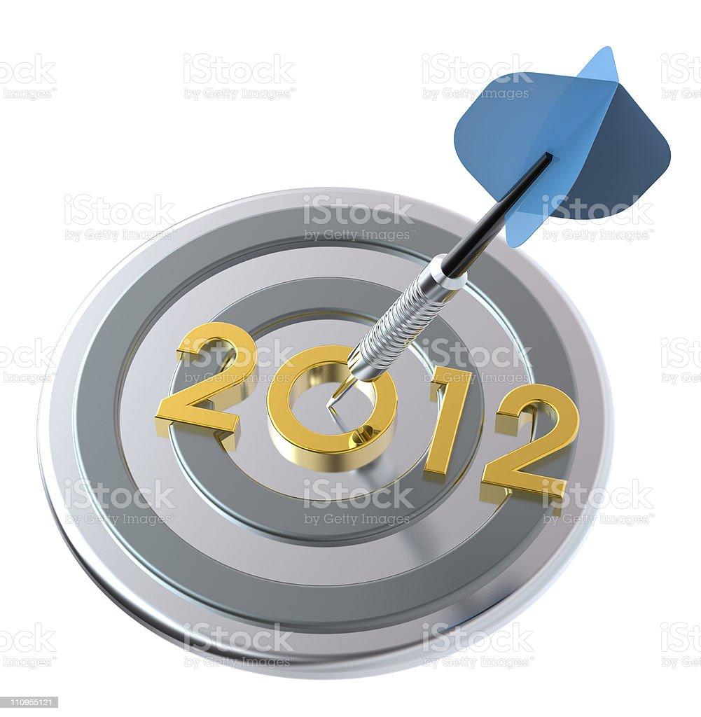 Dart hitting target - New Year 2012 royalty-free stock photo