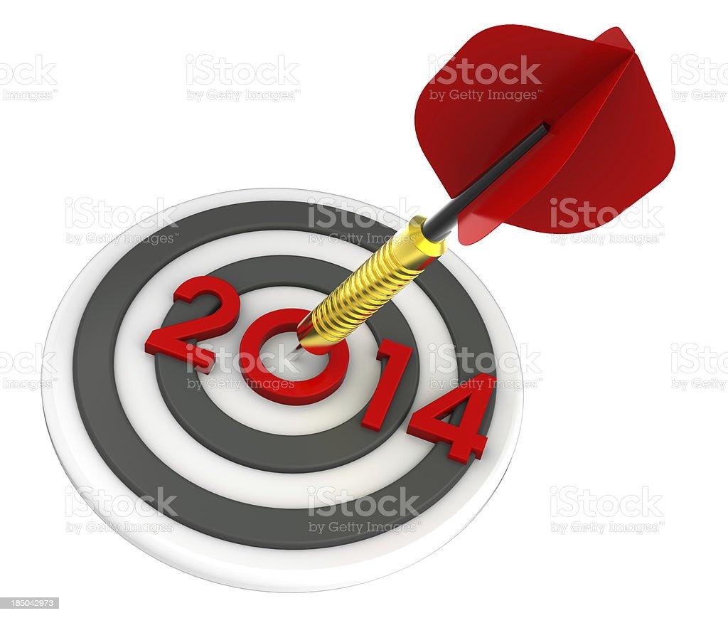 Dart hitting target - New Year 2014 royalty-free stock photo