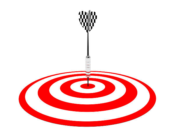 3D Dart in a target stock photo