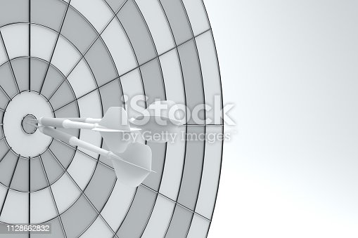921518946istockphoto Dart in Bull's Eye 1128662832