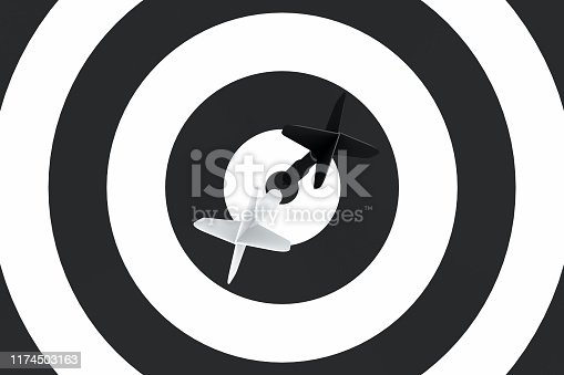921518946istockphoto Dart in Bull's Eye 1174503163