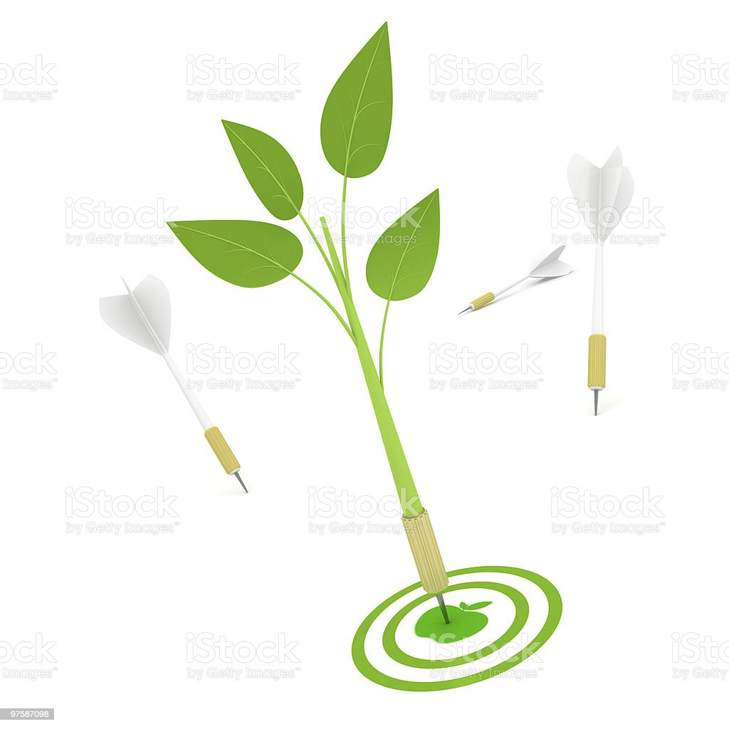Dart in Bull's-Eye, ecology concept. royalty-free stock photo
