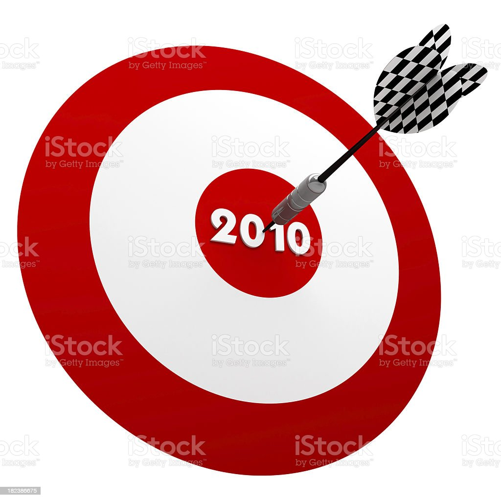 3D Dart in Center of 2010 years Target royalty-free stock photo